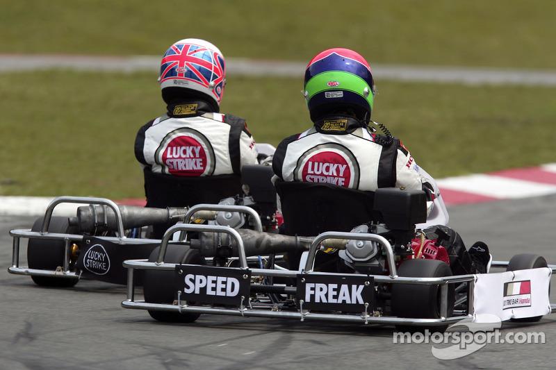 Go-kart event in Sao Paulo: Jenson Button and Enrique Bernoldi