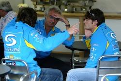 Flavio Briatore with Fernando Alonso and Giancarlo Fisichella