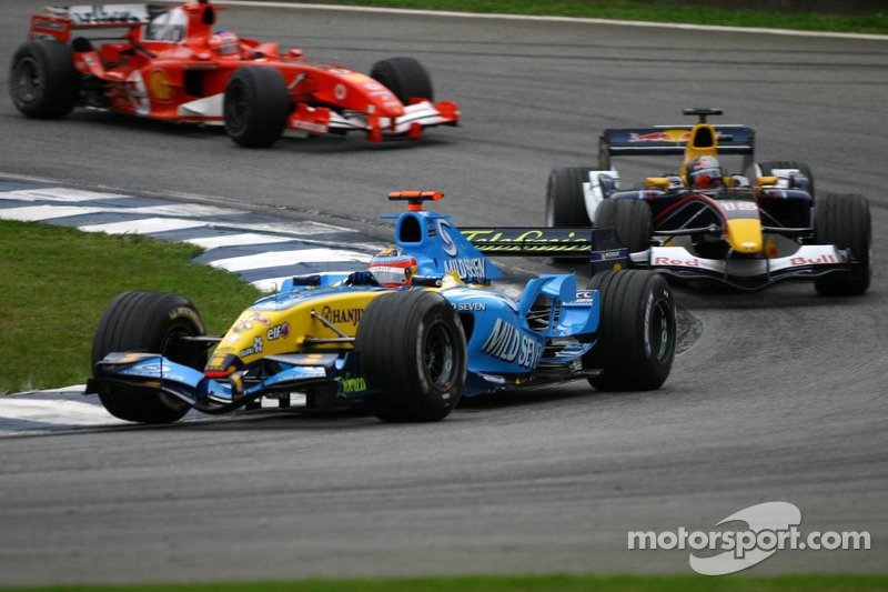 Fernando Alonso, Renault; Christian Klien, Red Bull Racing