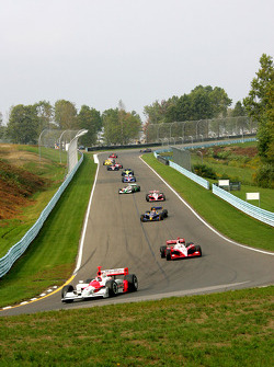 Pace lap: Helio Castroneves leads the field