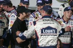 Victory lane: Jeff Gordon congratulates Chad Knaus