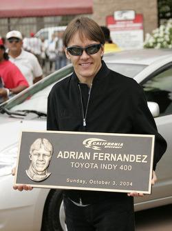 A commemorative plaque for Adrian Fernandez