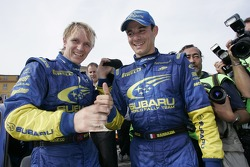 Petter Solberg and Stephane Sarrazin at the final service