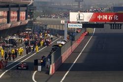 Michael Schumacher starts from the pitlane