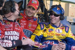 Victory lane: Jeff Gordon congratulates Kyle Busch