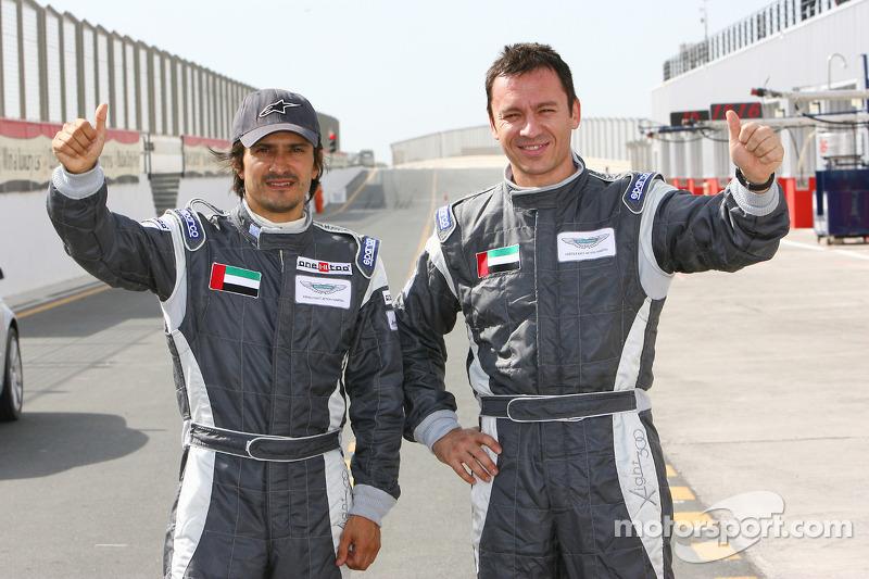 Pole winners Stéphane Ortelli and Christophe Bouchut celebrate