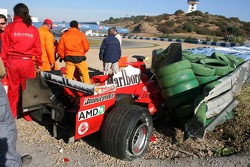 The wrecked car of Luca Badoer