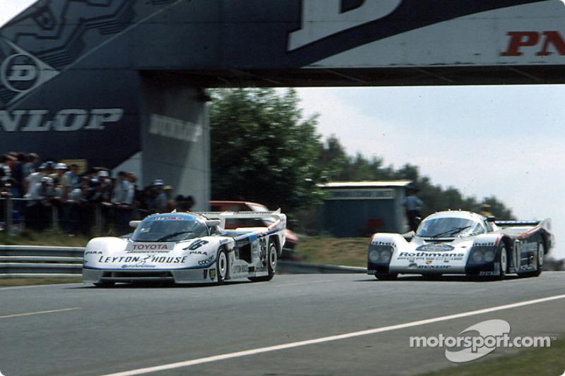 #36 Tom's Team Tom's Toyota 85C: Satoru Nakajima, Masanori Sekiya, Kaoru Hoshino, #1 Rothmans Porsche Porsche 962C: Jacky Ickx, Jochen Mass