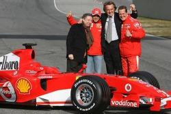Jean Todt, Felipe Massa, Luca di Montezemelo and Michael Schumacher with the new Ferrari 248 F1