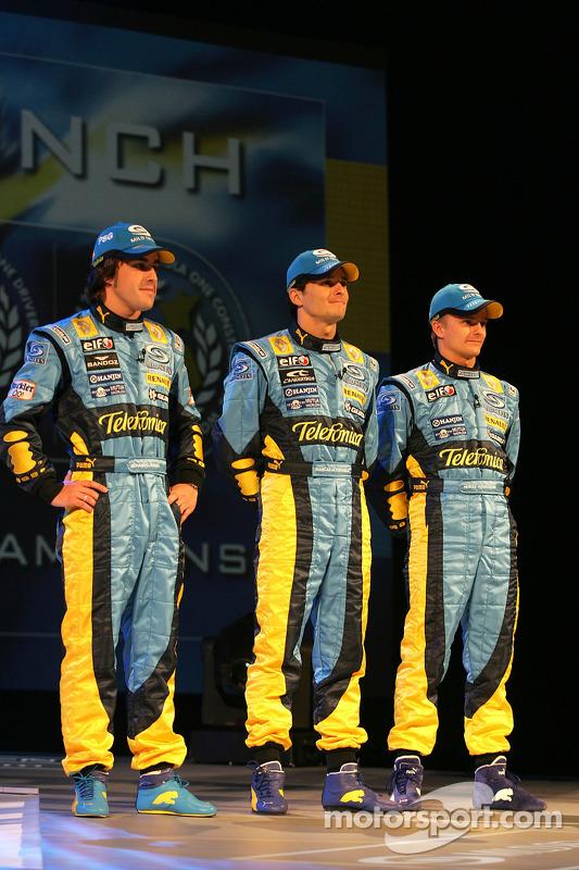 Fernando Alonso, Giancarlo Fisichella et Heikki Kovalainen