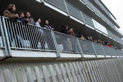 Journalists wait at Brooklands