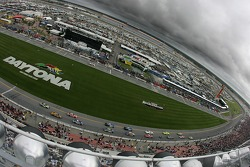 Pace laps under a menacing sky