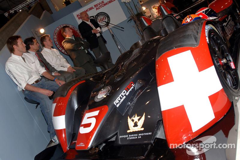 Swiss Spirit team launch: Harold Primat, Serge Saulnier and Marcel Fassler with the Courage LMP1 C70