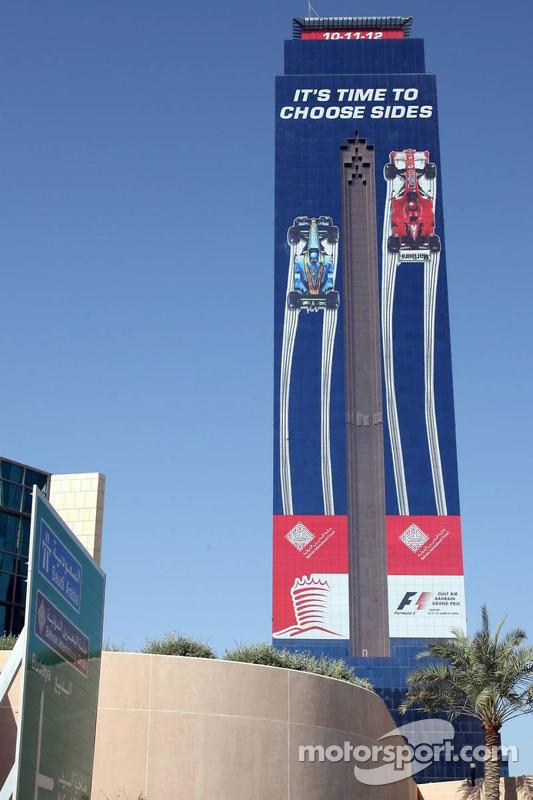 Une publicité du GP de Bahrëin sur un gratte-ciel