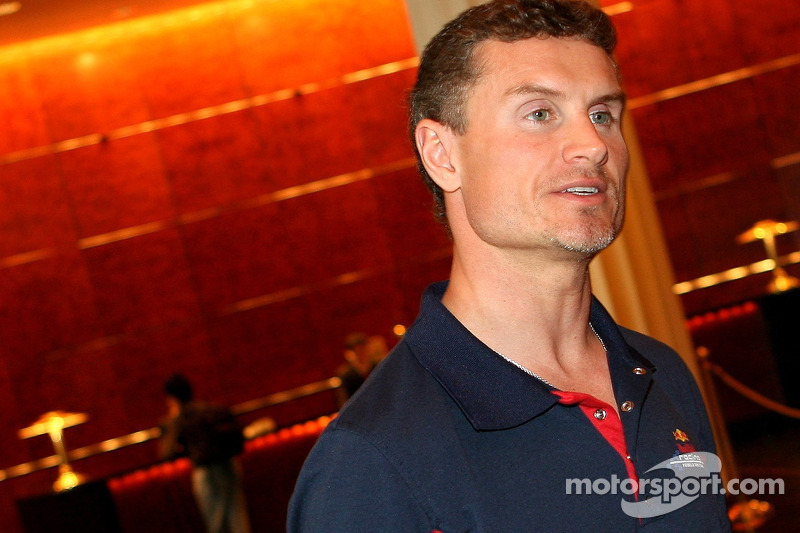 David Coulthard in the lobby of the Crown Tower Hotel