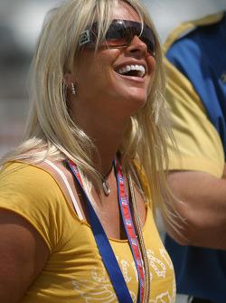 Yvette Auberlen celebrates the victory of her husband