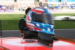 Sam Hornish Jr.'s helmet sits ready