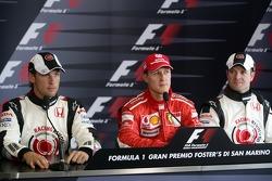 Press conference: pole winner Michael Schumacher with Jenson Button and Rubens Barrichello