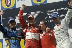 Podium: race winner Michael Schumacher with Fernando Alonso, Jean Todt and Juan Pablo Montoya