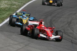 Michael Schumacher leads Fernando Alonso