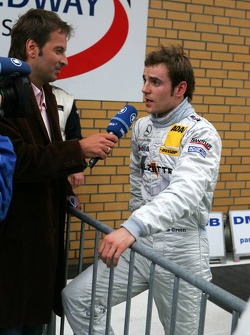 Jamie Green interviewed for TV after securing pole position