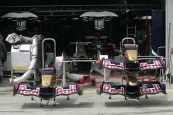 The nose cones of Scuderia Toro Rosso racing cars