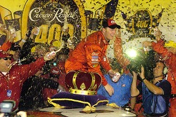 Dale Earnhardt Jr. in victory lane with beer flying everywhere