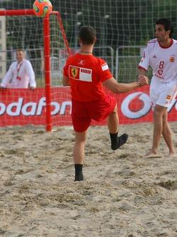 Vodafone Ferrari Beach Soccer Challenge: Michael Schumacher takes a shot for the goal