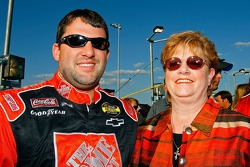 Tony Stewart poses for a photo with his mom, Pam Boas