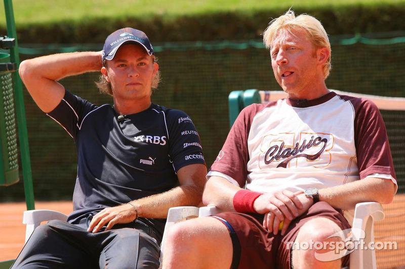 Match de tennis: Nico Rosberg et Boris Becker
