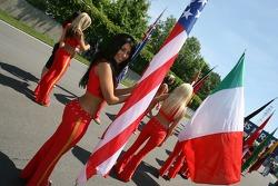 A flag girl