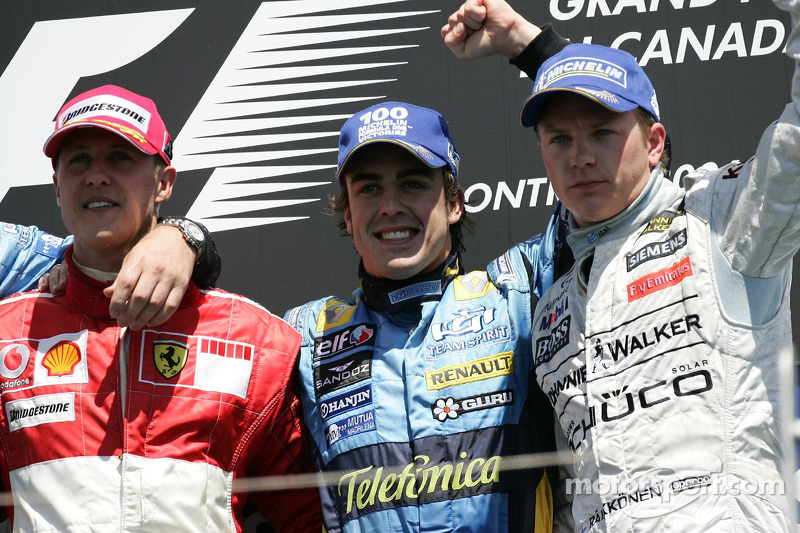 2006 - 1. Fernando Alonso, 2. Michael Schumacher, 3. Kimi Räikkönen