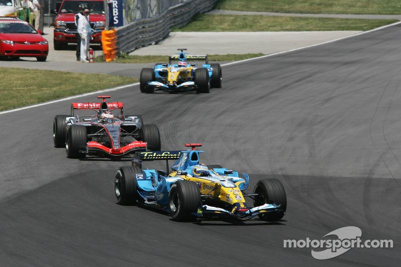 Fernando Alonso, Kimi Räikkönen et Giancarlo Fisichella