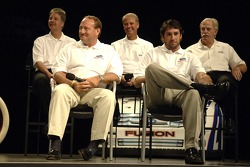 Ken Schrader, Elliott Sadler, Robert Yates and Eddie and Len Wood take part in an employee pep rally at Ford World Headquarters