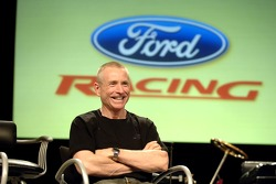 Mark Martin takes part in an employee pep rally at Ford World Headquarters