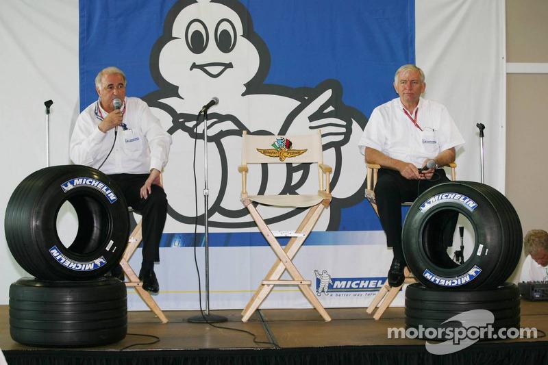 Presse de conférence de Michelin : Frederic Henry Biabaud, directeur de Michelin Motorsport et Nick Shorrock, directeur des activités F1 de Michelin