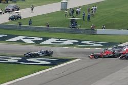 Crash at first corner: Mark Webber