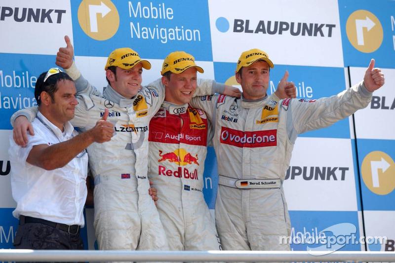 Podium: le vainqueur de la course Mattias Ekströmavec Jamie Green, Bernd Schneider et Hans-Jurgen Ab