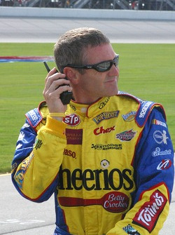 Bobby Labonte listens to qualifying on the radio