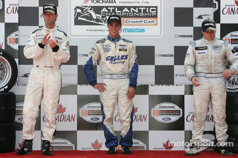 Podium : le vainqueur de la course Robbie Pecorari avec Jonathan Bomarito et Ryan Lewis