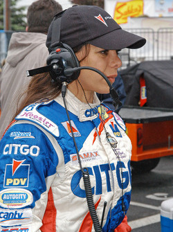 Milka Duno listens to the team radio