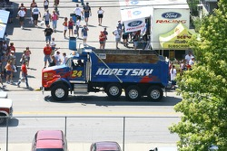 A dump truck sports the colors of Jeff Gordon