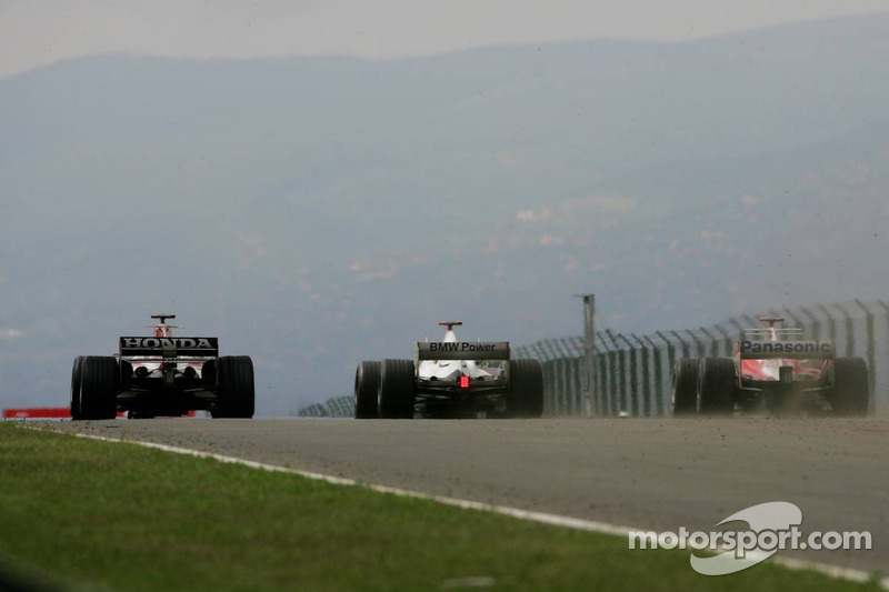 Takuma Sato, Nick Heidfeld y Ralf Schumacher
