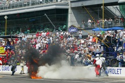 A fire breaks out in the pit of Jimmie Johnson