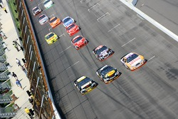 Three wide race action