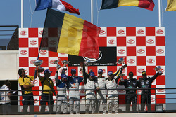 GT1 podium: class and overall winners Bert Longin, Anthony Kumpen and Mike Hezemans, with second place Jos Menten and Jean-Philippe Belloc, and third place Jamie Davies and Thomas Biagi
