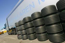 Team McLaren Mercedes truck and tyres