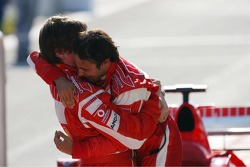 Race winner Felipe Massa celebrates with Rob Smedly