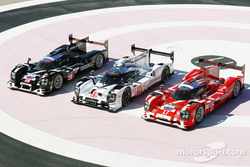 The 2015 Porsche 919 Hybrid presented in three different colors for Le Mans only