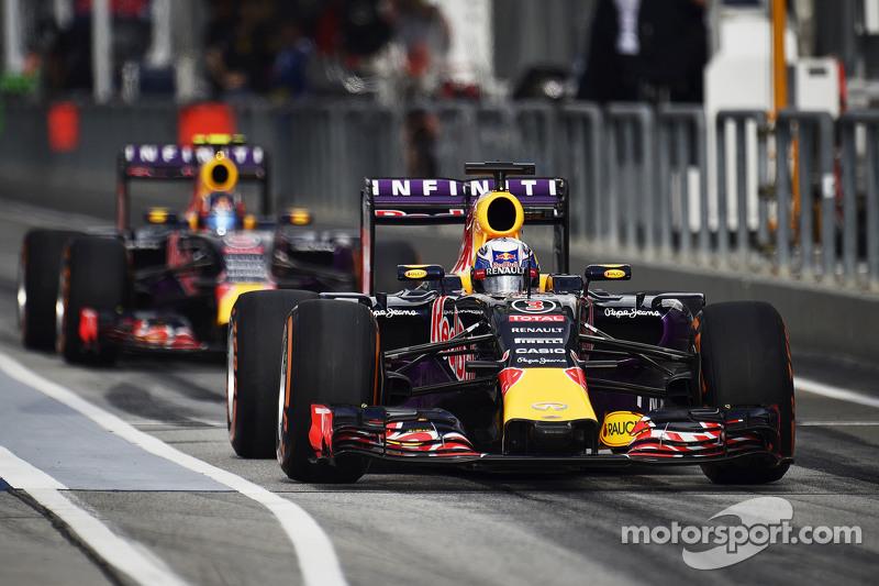 Daniel Ricciardo, Red Bull Racing RB11 dan team mate Daniil Kvyat, Red Bull Racing RB11